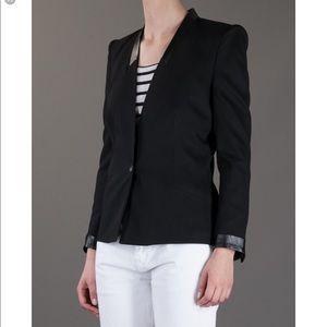 Helmut Lang Leather Trim Blazer Black